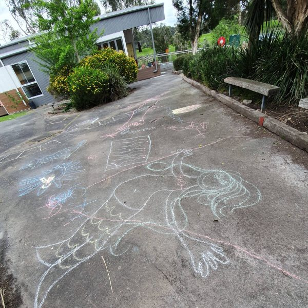 An Empty Playground with Chalk Drawings