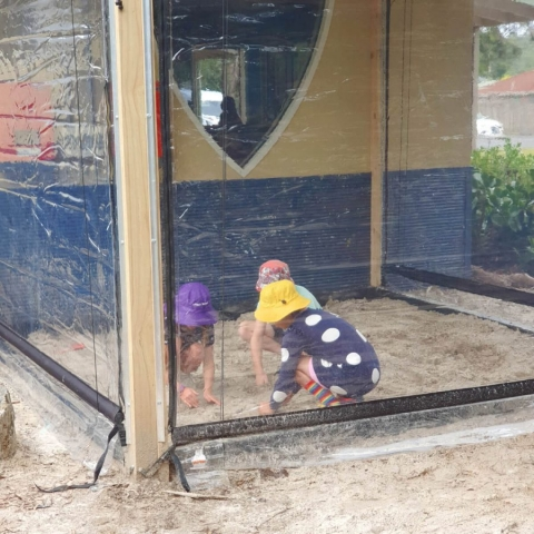 Our new enclosed sandpit