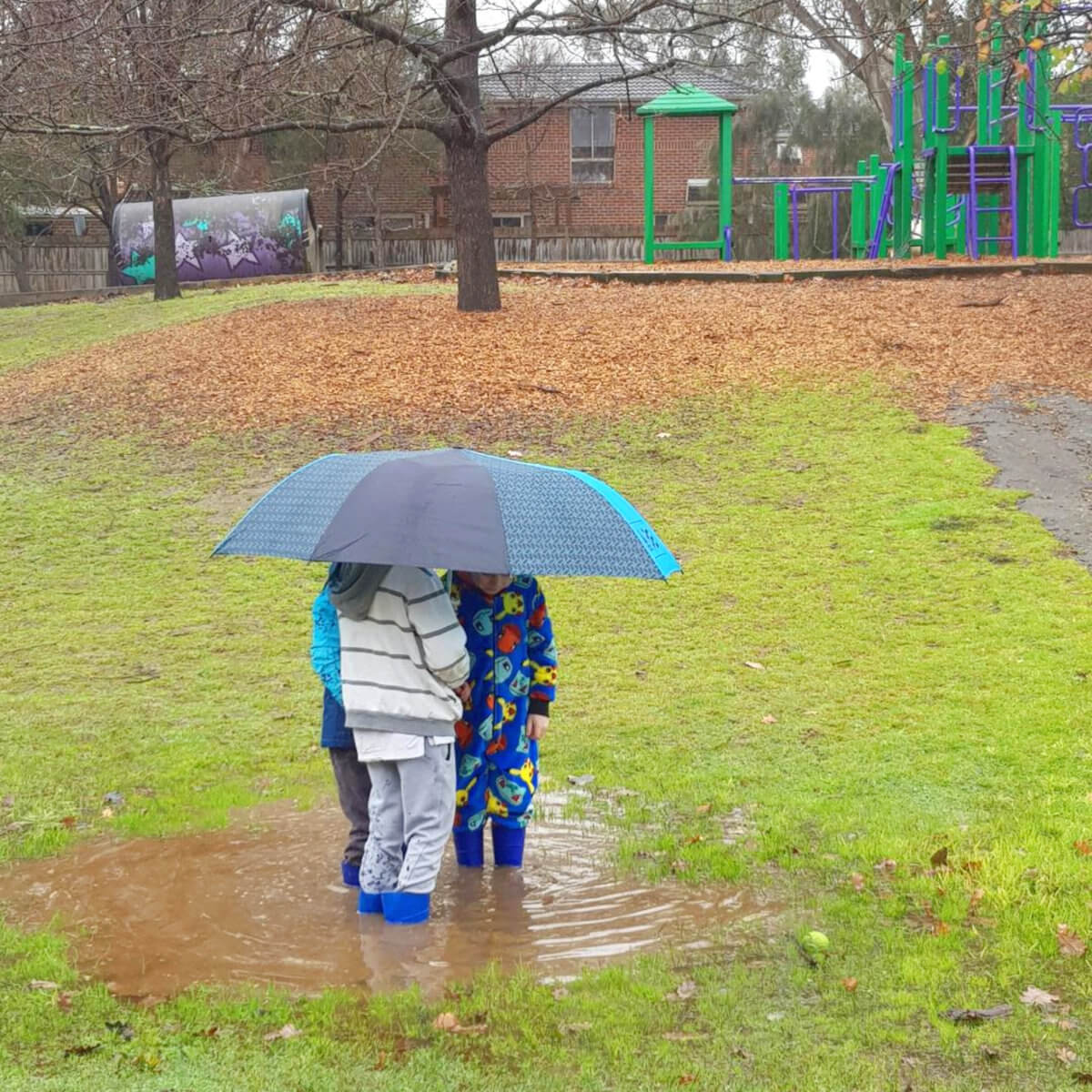 Our Holistic Philosophy - Students Standing in a Puddle